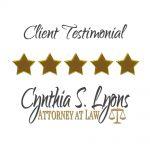 Client Testimonial for Cynthia S. Lyons